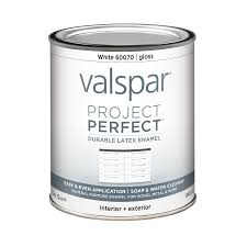 shop valspar project perfect white gloss latex enamel interior