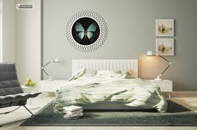 green and white and grey butterfly bedroom for windowless room