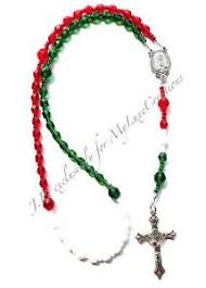 catholic rosary necklace italian green white glass w silver prayer catholic car rosary