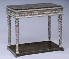 Marble Console Table Antique Swedish Parcel Silver Leaf U0026 Marble Console Table