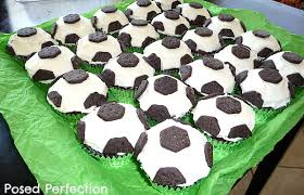 posed perfection soccer ball cupcakes