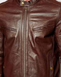 leather racing jacket asos leather racing biker jacket in brown for men lyst