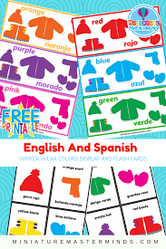 english and spanish colors winter wear practice classroom display
