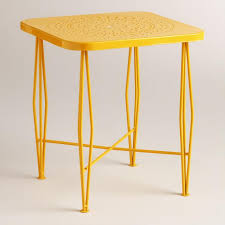 outdoor metal end tables yellow metal alyssa outdoor hairpin side table world market