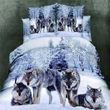 snow wolf king queen double bed quilt doona duvet cover set new