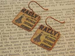 feminist earrings rally for the woman suffrage amendment feminist earrings copper