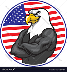 Eagle American Flag Eagle Mascot Show The Muscle With American Flag Vector Image
