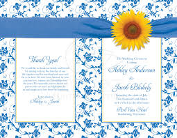 Wedding Program Covers Wedding Program Cover Sunflower Blue Damask Floral