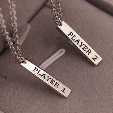 couple necklace images Player 1 and player 2 video game couple necklace set chokers jpg