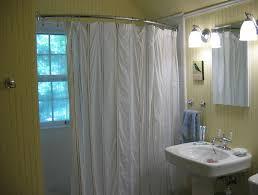 bay window curtain rod lowes diy curtain rods dark brown brick