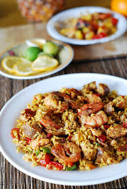 Main Dish Chicken Recipes - paella with chicken shrimp and sausage