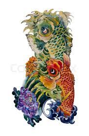 koi fish japanese design original watercolor stock photo
