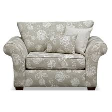 Fabric Living Room Chairs Gray Floral Patterned Fabric Living Room Chair And A Half Recliner