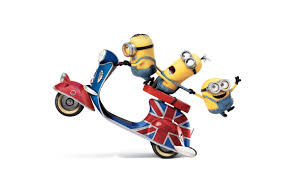hd background funny minions 2015 movie riding scooter wallpaper