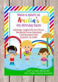 pink splash bash pad park birthday party invitation by