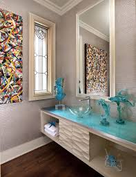 Wood Floor In Powder Room - abstract glass design powder room contemporary with contemporary