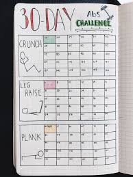 bullet journal 30 day fitness challenge tracker stay dedicated