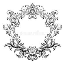 vintage baroque frame engraving scroll ornament vector stock