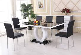 Black Gloss Glass Coffee Table Giovani Black White High Gloss Glass Dining Table Set And 6