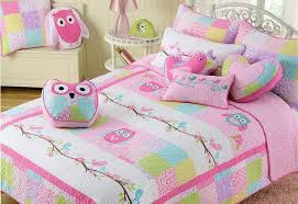 amazon com 2 pc twin quilt u0026amp sham set owl birds pink
