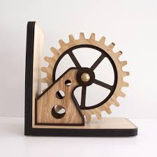 Engraved Bookends Gear Wooden Bookend Personalized Graphic Spaces