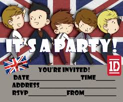 Invitation Blank Card Stock One Direction Free Printable Party Invitation For 1d Fans To Print