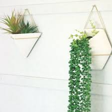 vase and planter ceramic wall planters with brass finish metal