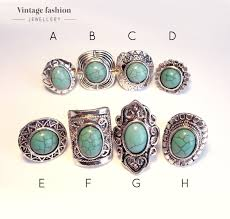 turquoise stone aztec bohemian turquoise stone ring boho vintage silver