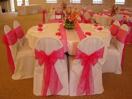 fuschia pink table cloth like the double runner except a silver instead of white party