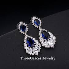 Long Chandelier Earrings Dangle Earrings Threegraces Vintage Bridal Earring Big Chandelier Cubic Zirconia