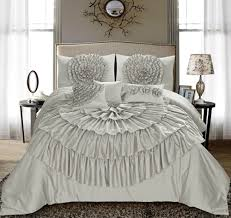 homechoice 7 pc merisela chic ruched ruffle floral bed comforter