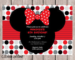 diy printable minnie mouse birthday party invitation red