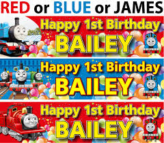 personalised thomas the tank engine birthday banner thomas red blue james birthday banner jpg