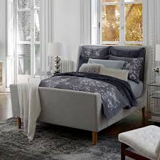 Grey Sleigh Bed Upholstered Sleigh Bed West Elm