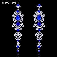 Colorful Chandelier Earrings Mecresh Blue Silver Color Chandelier Crystal Long Earrings For