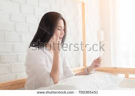 Bed Shoppong On Line Female Stretching Sitting On Bed Morning Stock Photo 593746454