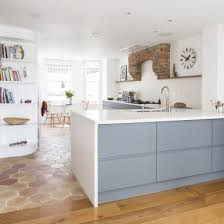 White Floor L L Shaped Kitchen With Open Floor Plan Also Gray Cabinetry Plus