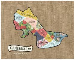 Ma Map Cambridge Ma Neighborhood Map Original Cut Paper Print Free