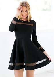 black skater dress black mesh panel skater dress lookbook store