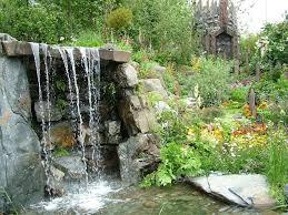 lawn garden luxury modern concrete backyard waterfall design and