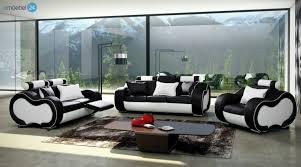 echtleder sofa uncategorized geräumiges schwarz weiss sofa mit alaska set 3 2 1