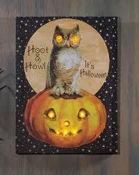 hoot and howl halloween owl lighted canvas shelley b home and