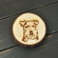 aimant cuisine schnauzer réfrigérateur arbre tranche chien aimants en bois