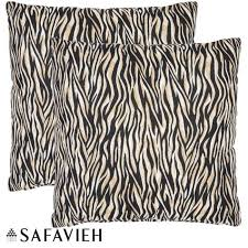 Safavieh Safari Zebra 22 inch Ivory Black Decorative Pillows Set
