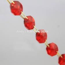 Chandelier Strands 5chains Lot Red Color Octagonal Glass Crystal Strands Crystal