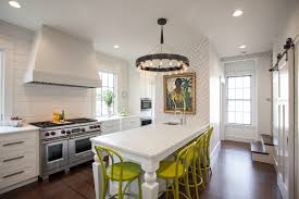 eclectic kitchen design with yellow chairs and white table 1499