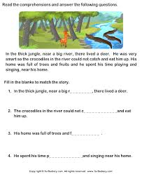 reading comprehension deer worksheet turtle diary
