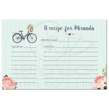 bridal card bridal shower recipe card blush and navy floral bicycle