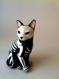 Halloween Skeleton Dog Decoration by Day Of The Dead Cat Sculpture Hand Painted Cat Figurine Dia De Los