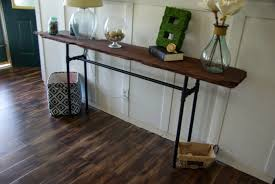 decor brown entry skinny console table design